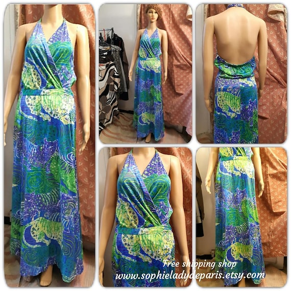 Psychedelic Maxi Dress Long Vintage 60's 70's Blue Jersey Halter Dress Medium #sophieladydeparis