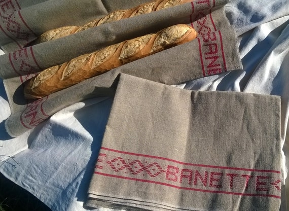 Vintage Linen Towel French Baguette Professional Baker's Cloth Large Thick Towel Unused Red Line Tagged #SophieLadyDeParis