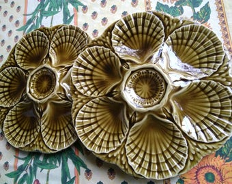 Free Ship. 2 Antique Olives Oyster Majolica Plates French Sarreguemines #sophieladydeparis