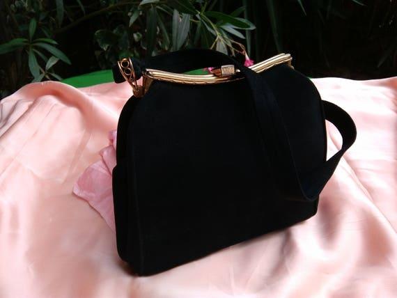 Art Deco Bag Black Suede Purse French Handbag Moire Fabric Lined #sophieladydeparis