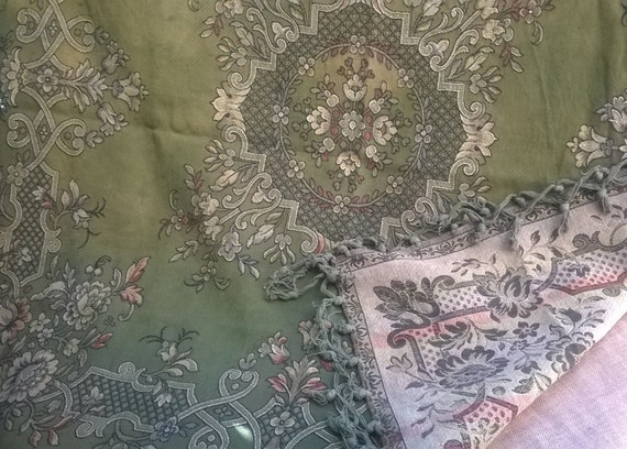 Throw 1800 Bronze Green Tapestry Floral French Empire Napoleon III Design Cotton Tassels Table Cover Wall Hanging #sophieladydeparis