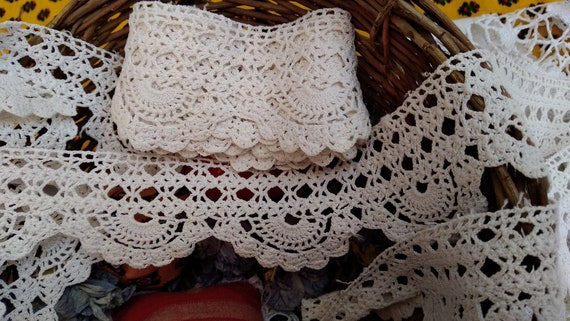 3 yards Lace+ Victorian Home Decor Crochet Lace Long White Cotton French Shelf Edging Home Decor Lace #sophieladydeparis