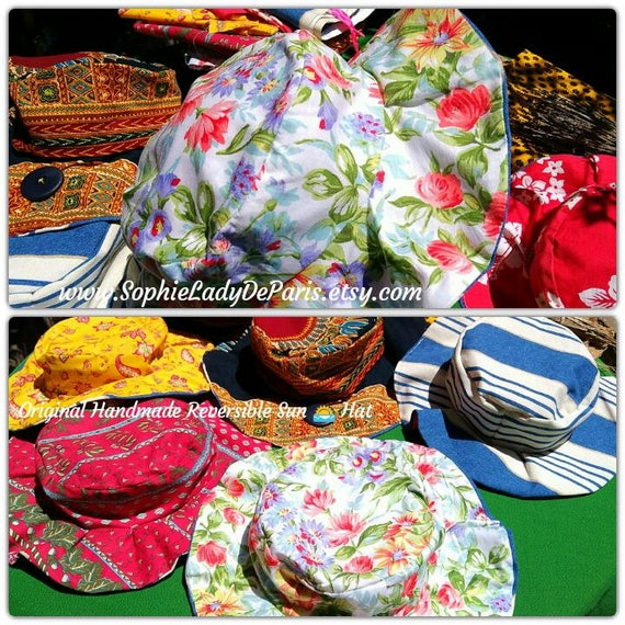 Reversible Sun Hat White Multicolored Floral Cotton Fabric Handmade Striped Blue White Canvas Lined #sophieladydeparis