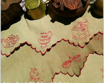 1880's French Country Kitchen Café Curtain Red Hand Embroidered Linen Shelf Edging Creamer Coffee Grinder Café Home Decor #sophieladydeparis