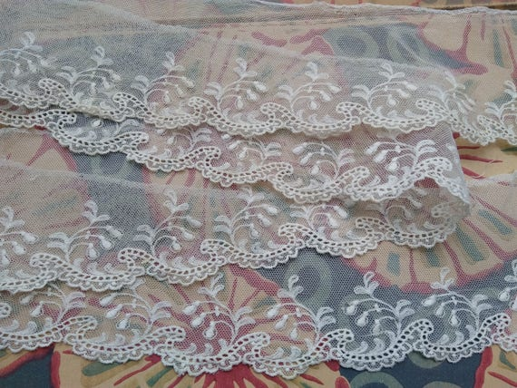 Large Needle  Lace Victorian Tulle Hand Embroidered French Off White Cotton Tulle #sophieladydeparis