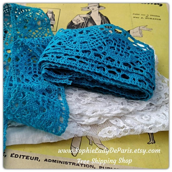 Antique Turquoise Blue Bobbin Lace Braid French Cotton Lace Unused Sewing Project Collectible #sophieladydeparis