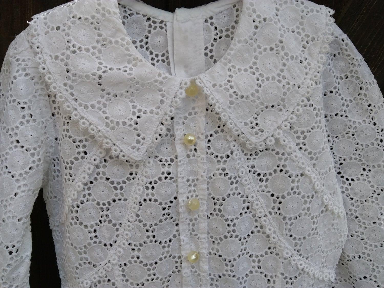 65787409e Lace Girl Dress Mid-Century French Dress White Eyelet Lacy Cotton ...