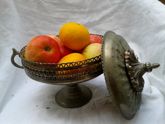 Rare 1850 's French Fruit Bowl Footed Lidded Handles French Metal and Brass Filigree Fruit Dish Acorn Design #sophieladydeparis