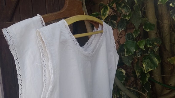 Victorian Dress White French Metis Linen Handmade Nightgown Bobbin Lace Trim Size Large/XL - Ref RD #sophieladydeparis