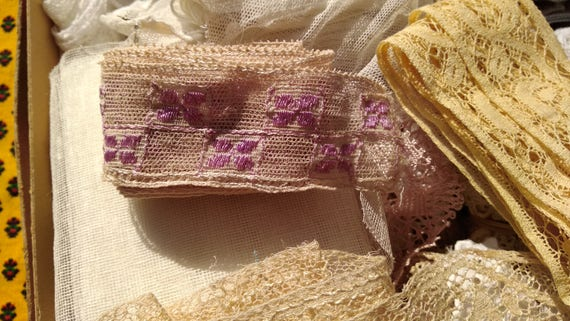 French Lace Antique French Tulle Lace Purple Embroide red Project Cotton Lace Unused Sewing Project red Collectible #sophieladydeparis 07712e