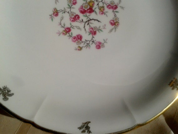 1900's Roses Dish Large French Limoges Porcelain Serving Plate Gilded Signed Cirot Gadouin from Vierzon #sophieladydeparis
