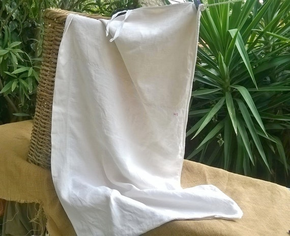 Victorian White Hemp Laundry Bag Antique 19th Century French Homespun Textile Bag #sophieladydeparis