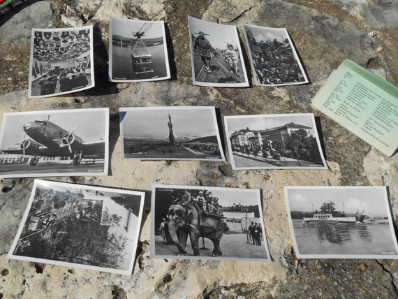 Plane Photo 1939 Swiss Suchard Chocolate 10 Black and White Bromide Photos Serie XXV showing Plane Garden Folk Village #sophieladydeparis