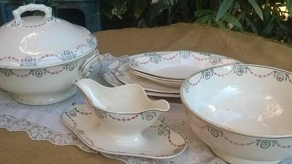 Porcelain Dishes Dinnerware Set French Empire Stencil Porcelain Soup Tureen Serving Dish Salad Bowl Gravy Boat Longwy #sophieladydeparis
