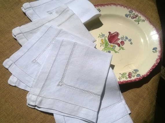 5 Antique Napkins White Linen Crepe Napkins Ladder Cut Worked French Handmade Napkins #sophieladydeparis