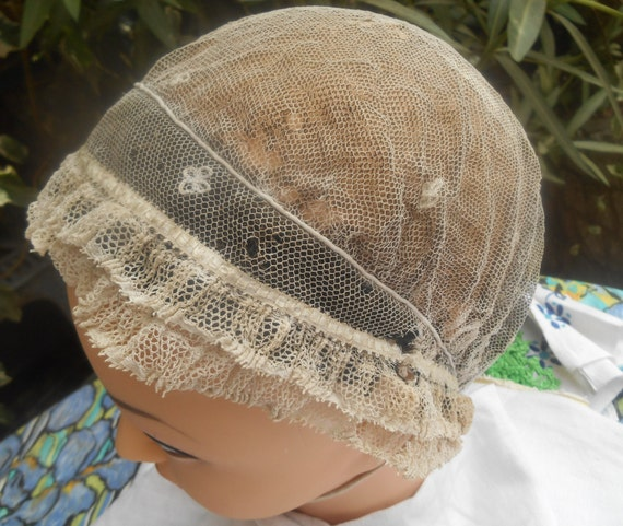 Victorian Tulle Bonnet Handmade French Black and White Tulle Cotton Woman Hair Cap Clothing for Costumes #sophieladydeparis