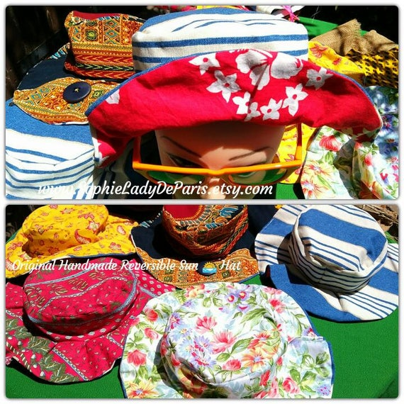 Reversible Sun Hat Red Tahiti Floral Cotton Fabric Handmade Striped Blue White Canvas Lined #sophieladydeparis