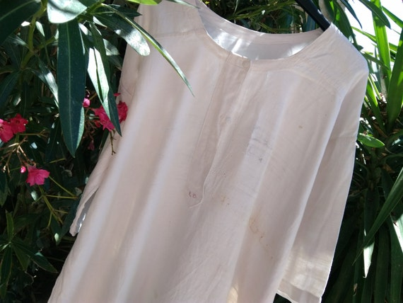XL Long Shirt Victorian White Hemp Linen Handmade 1880 Unisex French Country Side Gown Theater Movie Costumes #sophieladydeparis