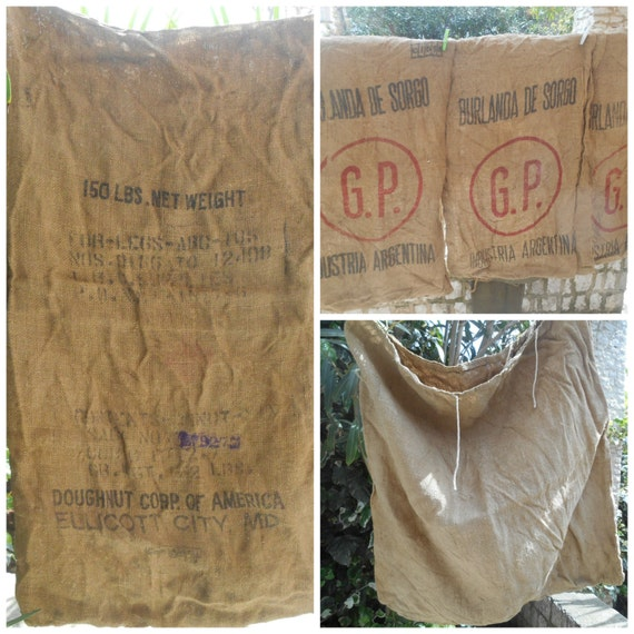 5 Antique Collectible Burlap Grain Sacks late 19th Doughnut Corporation of America Ellicot City Burri Anda De Sorgo #sophieladydeparis