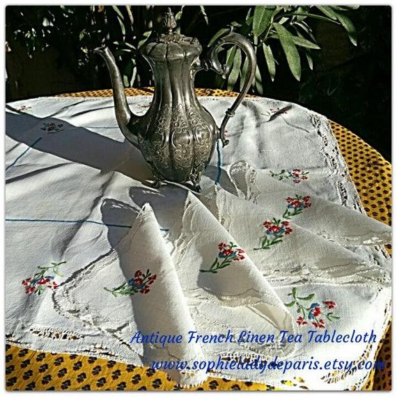 Linen Tea Tablecloth & Napkins Antique White French Linen Lace Trim Flowers Embroidered #sophieladydeparis