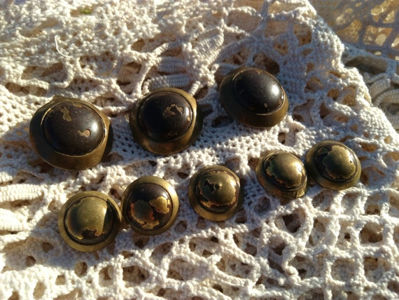 Antique Dome Brass Buttons Antique 1800's French Buttons Set of 8 Victorian Buttons Collectible #sophieladydeparis