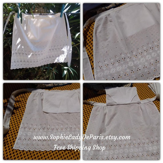 Vintage white French Maid Apron Floral Embroidered Eyelet Lace Bottom Cotton made  #sophieladydeparis