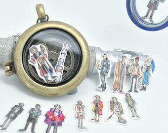 Doctor Who - All 13 Doctors - Hand-painted watercolor locket charms