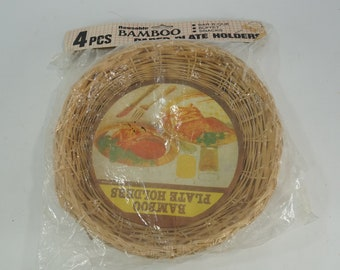 Paper Plate Holders, Picnic Decor, Picnic Reuseable Bamboo Plate Holders, Set of 4 Vintage Wicker Basket Plate Supports, NOS,  Free Ship
