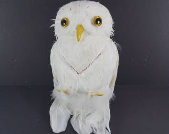 Artificial Bird, Feathered Bird, Owl, Long Feathered Tails, Large White Feathered Bird, Snowy Owl, Faux Owl Bird, Free Ship
