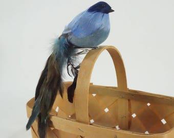 Artificial Bird, Feathered Bird, Blue Long Tail Clip on Bird, Bird for Wreaths Table Decor Floral Arrangements, New Feather Bird Free Ship