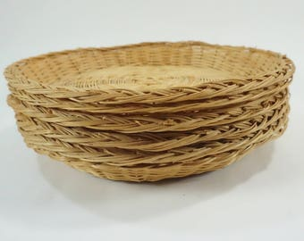 "Paper Plate Holders, Picnic Decor, Picnic Bamboo Plate Holders, 6 Vintage Wicker Basket Plate Supports, 10"" Picnic, Free Ship"