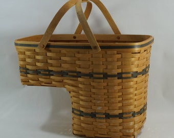 Carnation Basket, Stairs Basket W/ Handles, Handmade Handled Basket, Basket  For Stairs, USA Made Baskets, Signed, 1995 Free Ship