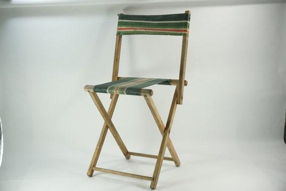 Vintage Folding Chair 1940u0027s Garden Green Striped Canvas | Etsy