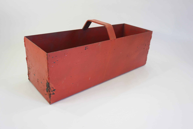 Boîte à outil de jardin, coffre à outil Heavy Heavy Heavy Metal avec poignée, porte-plantes, jardin industriel hangar boîte de rangement, Boîte métal rouge, navire gratuit 018184