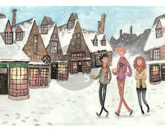 Hogsmeade Harry Potter Gouache Digital Download