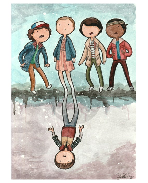 Stranger Things Adventure Time Style Signed Print Etsy