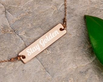 Stay Golden - Engraved Silver Bar Chain Bracelet