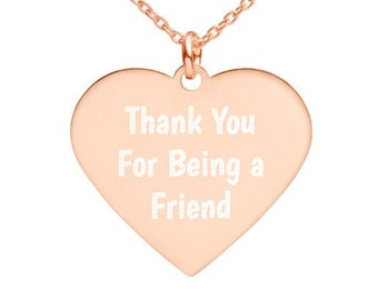Thank you Friend - Engraved Silver Heart Necklace