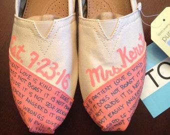 b3df127f8395 love is patient love is kind JUST MARRIED Custom WEDDING Bridal Shoes - Toms  Love Bride Groom Toms