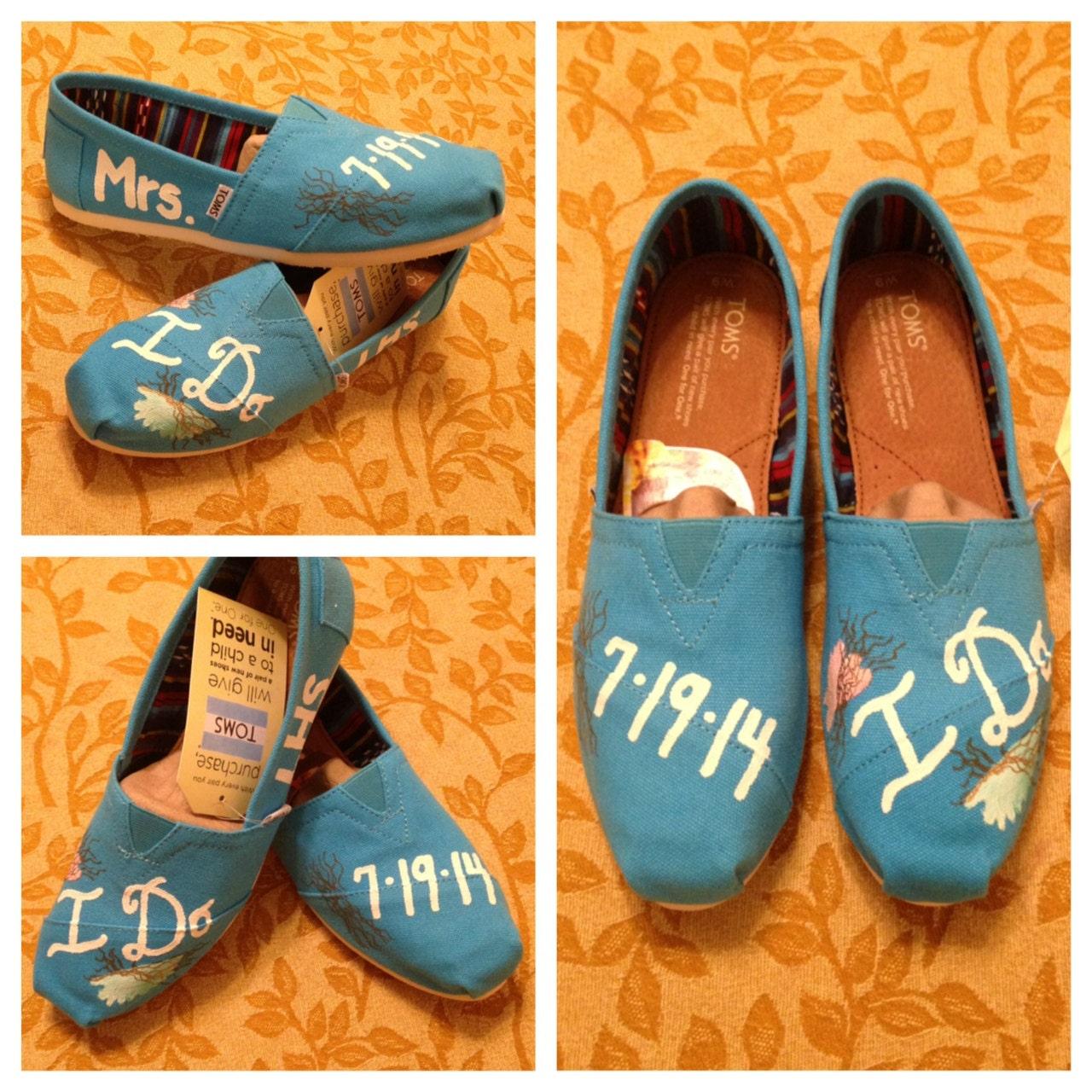 Zapatos de boda personalizados azul Toms amor novia novio
