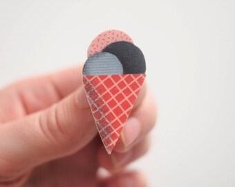 Ice Cream Illustration Shrink Plastic Brooch