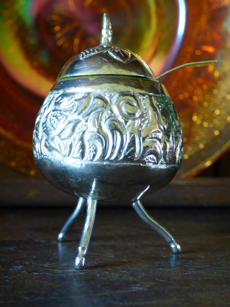 Funky Silver Condiment Dish with spoon