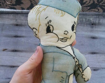 Vintage Embroidered Sailor Cloth Doll Navy Boy Handsewn Cotton Muslin Plush Toy Stuffed Soft Doll Estimated Age Circa 1940