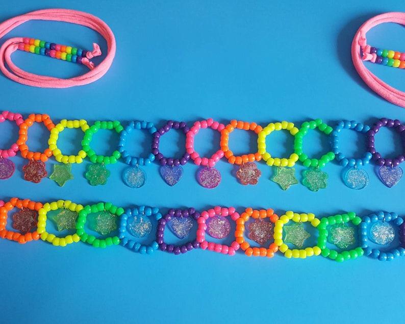 Glitter charms kandi belt,rave outfit,rave belt,rainbow belt,kawaii belt,pride belt,glitter belt,festival belt,festival clothing,edc kandi