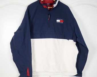 717ab6420 TOMMY HILFIGER 90's Colorblock Vintage Windbreaker Jacket Pullover Large  Half zip