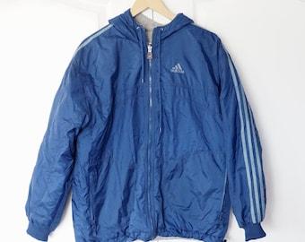5e515fded Vintage Adidas 90s reversible Jacket Size Large L Navy Blue Windbreaker  White Stipes