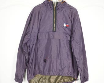 d65b7840 TOMMY HILFIGER 90's Purple Vintage Windbreaker Jacket Pullover L Large Half  zip
