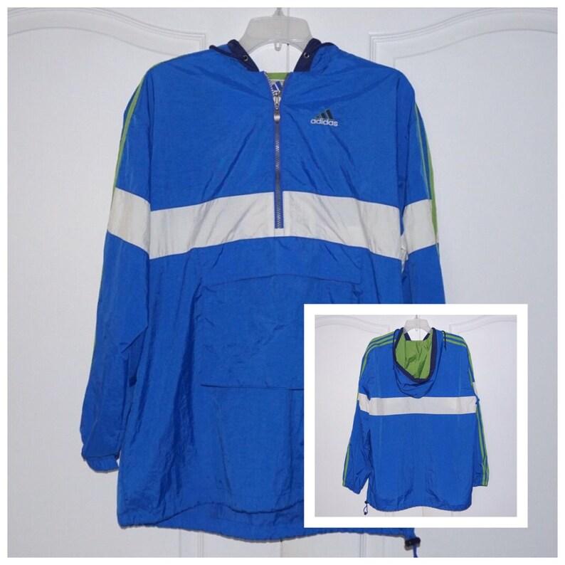ebb5f43fe351 Vintage Adidas Blue Windbreaker Hooded Pullover Jacket Size
