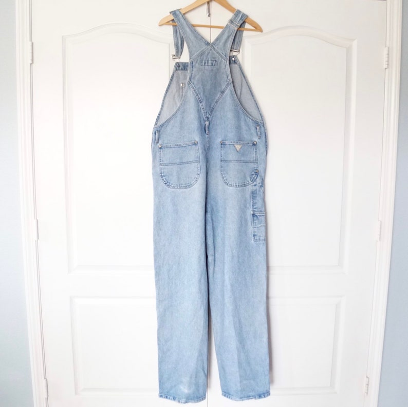 Clothing Gift for Men or Women Retro Hip Hop Fashion Vintage Guess Denim Overalls Size XL 1990\u2019s Jean Overalls