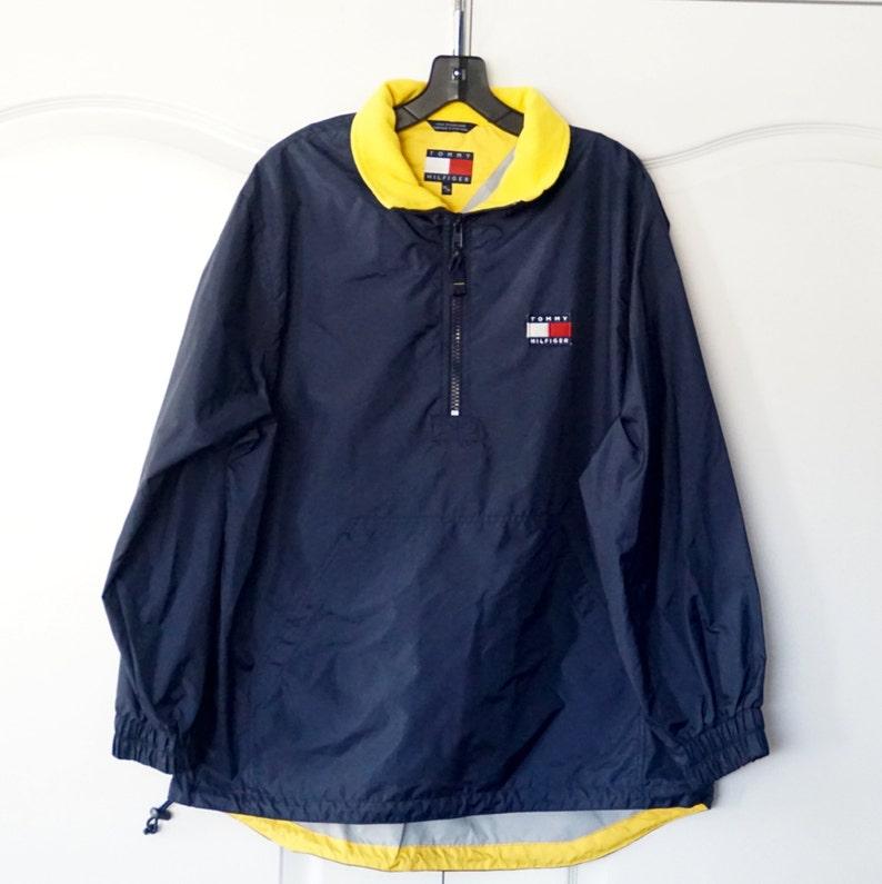 b5667449c8 Vintage Tommy Hilfiger Blue Yellow Pullover Jacket Windbreaker